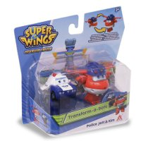 Super Wings Мини-трансформеры 2 в 1 Джетт и Пол (команда Полиции)